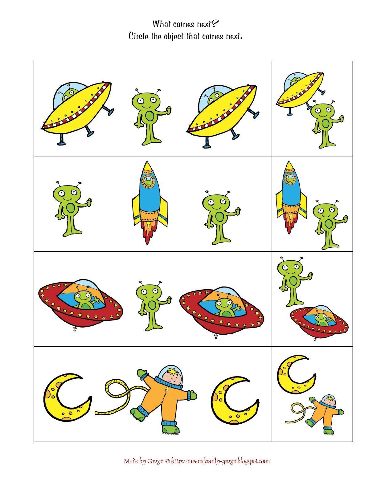 Preschool Space Worksheets
