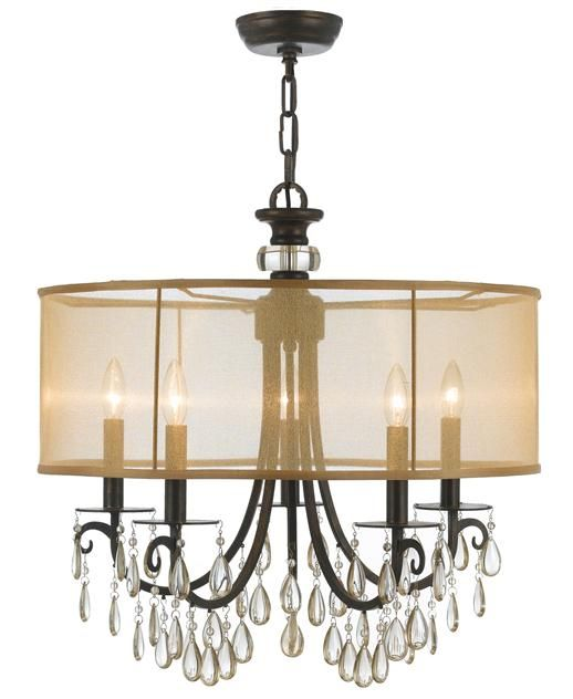 Crystorama Lighting Hampton 5 Light Chandelier In English Bronze And Etruscan Smooth Oysters 425