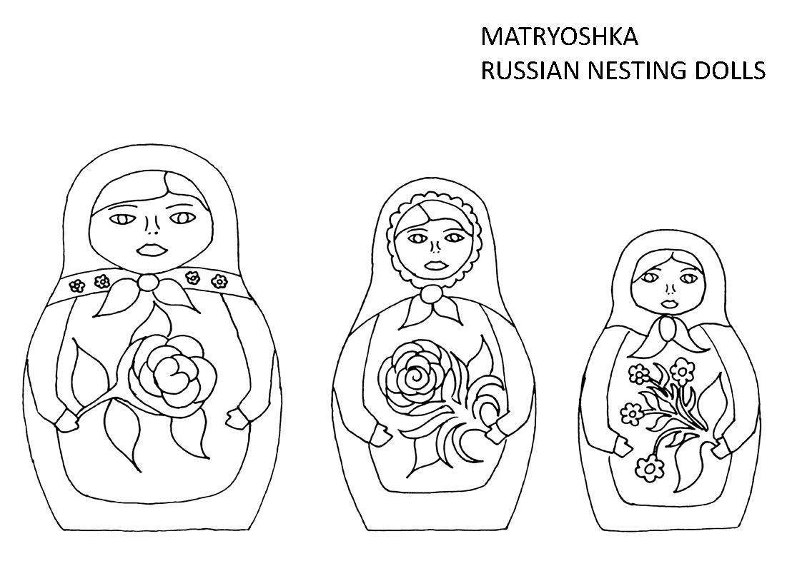 Russian Nesting Dolls Coloring Page Sketch Coloring Page