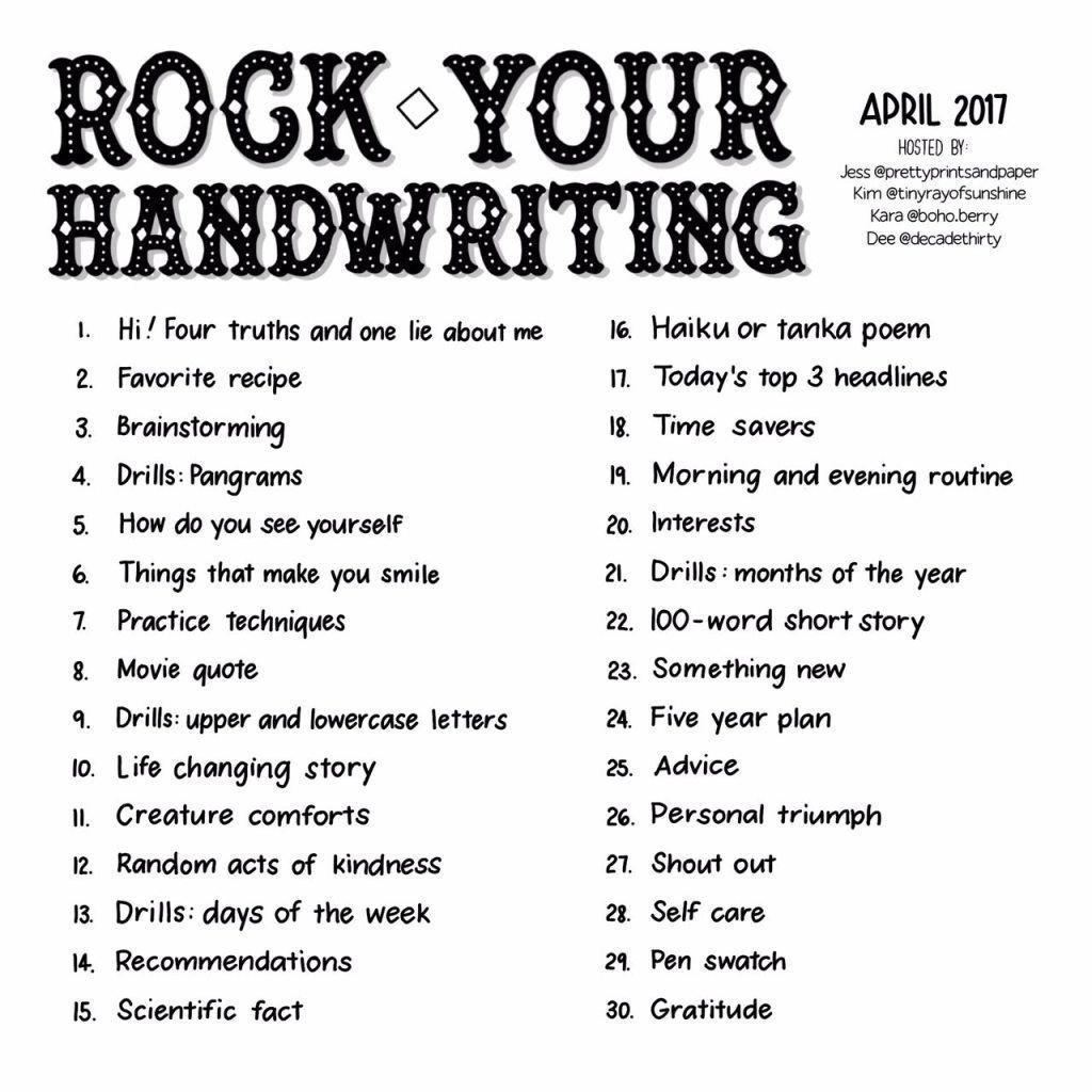 April Rock Your Handwriting Challenge