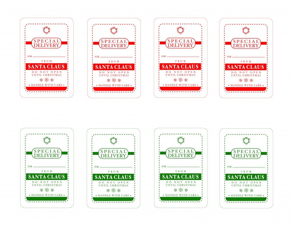Free Santa Claus Special Delivery Tags