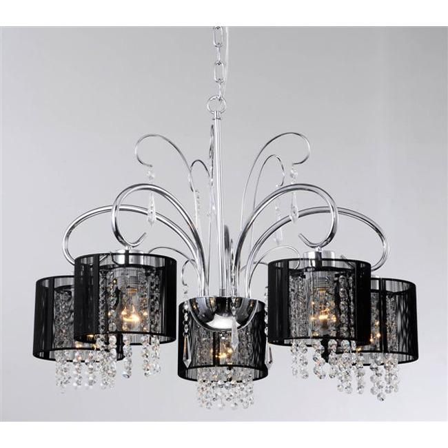Aegean Black Shade 5 Light Chrome Chandelier Ping Great Deals On