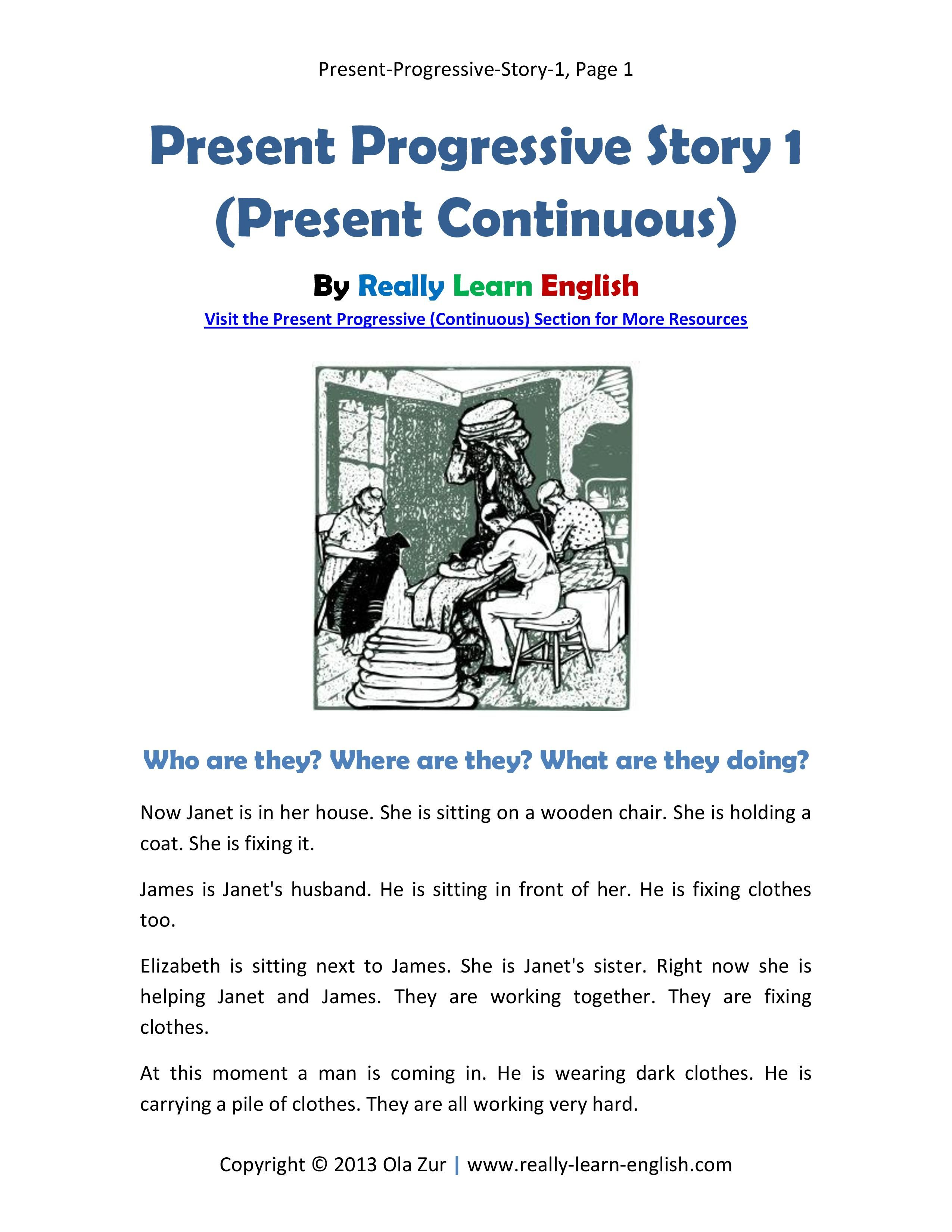 Free Printable Story And Exercises To Practice The Present