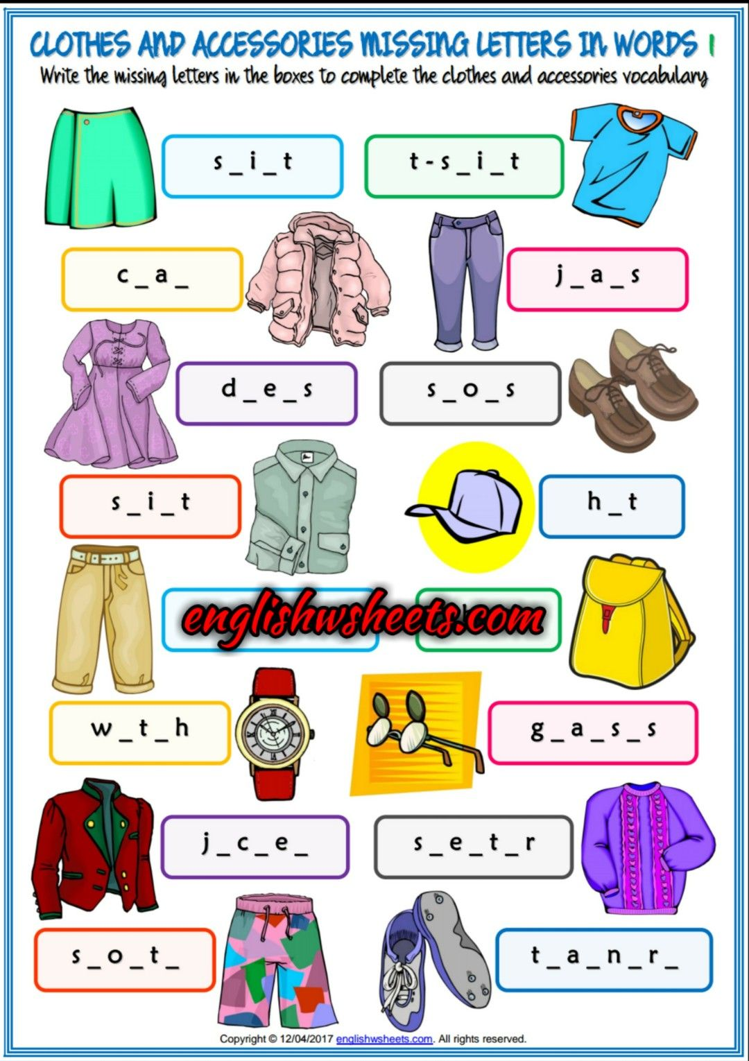 Clothes And Accessories Esl Printable Missing Letters In Words Worksheets For Kids