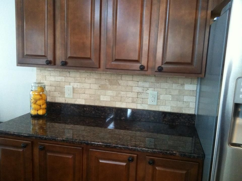 Tile backsplash on dark granite | House Ideas | Pinterest ... on Backsplash With Black Granite Countertops  id=15856