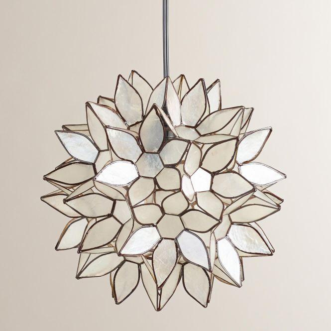 Small Capiz Lotus Hanging Pendant Lantern World Market