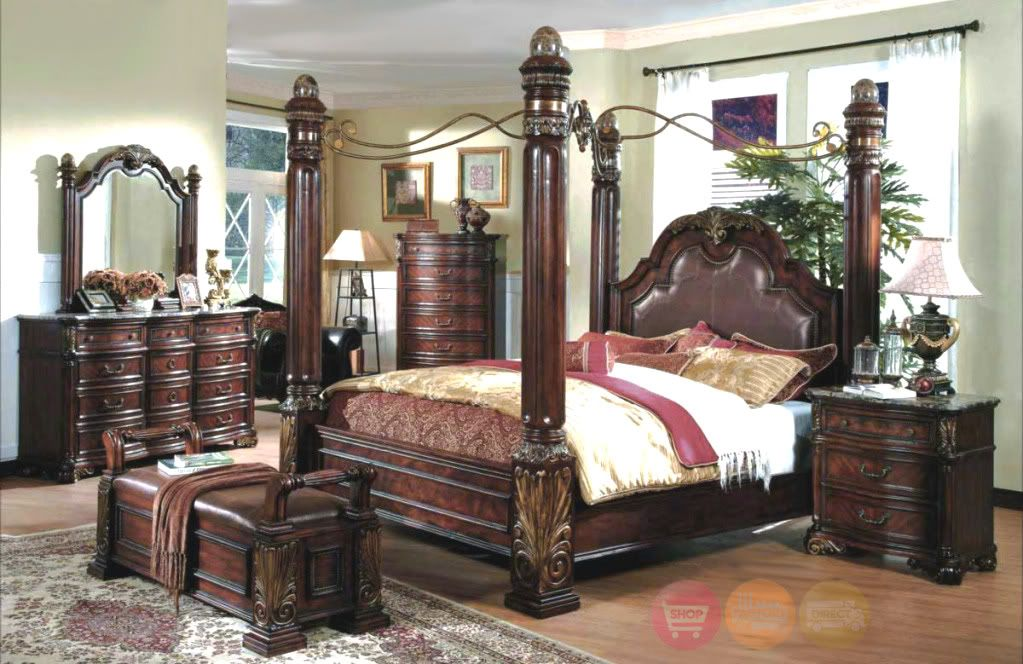 king poster canopy bed marble top 5 piece bedroom set | canopy