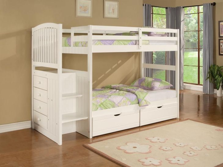 Kids Room Designs Cute white Fermoy twin bunk beds with underbed