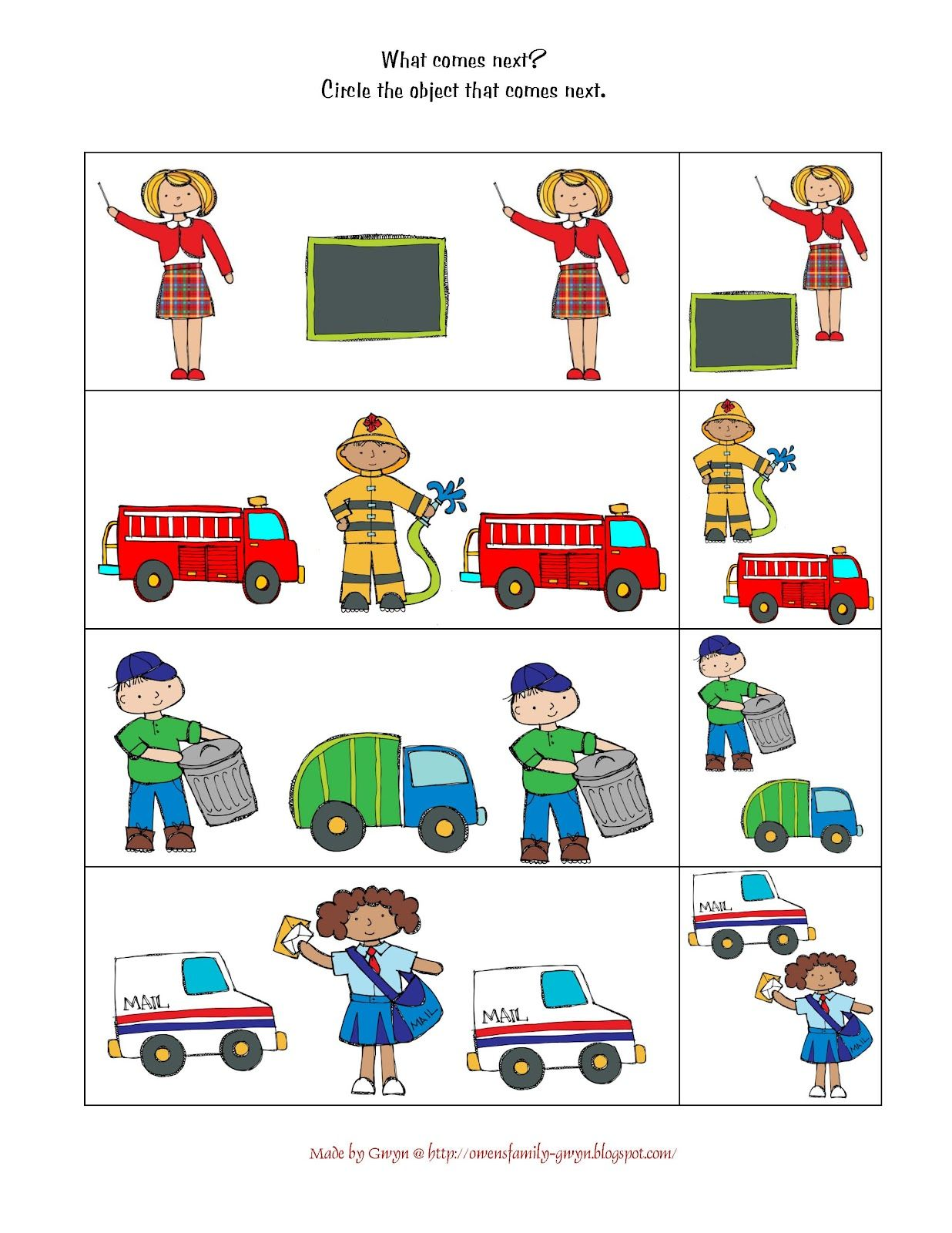 Preschool Printables Community Helpers Preschool A