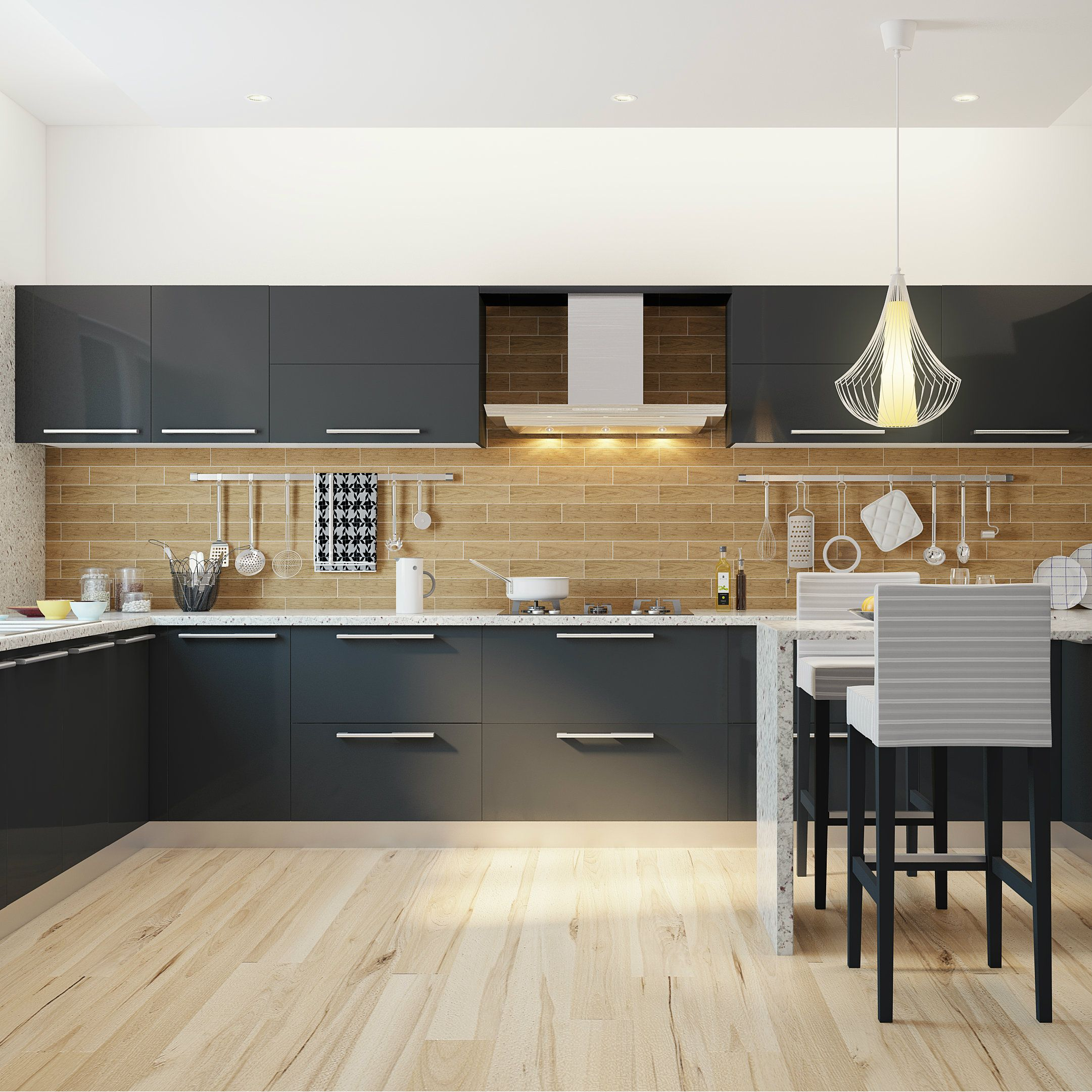 sprawling modular kitchen with a breakfast counter perfect for modern indian homes modular on kitchen island ideas india id=39771