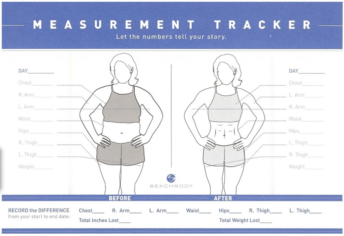 21 Day Fix Transformation Tracker Sheet
