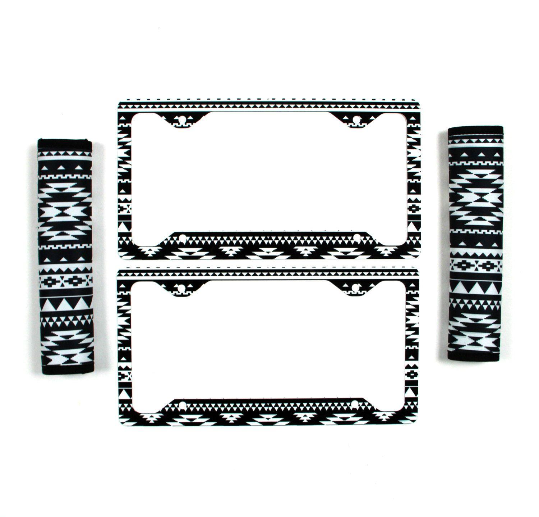 Black And White Aztec License Plate Frame Amp Seat Belt