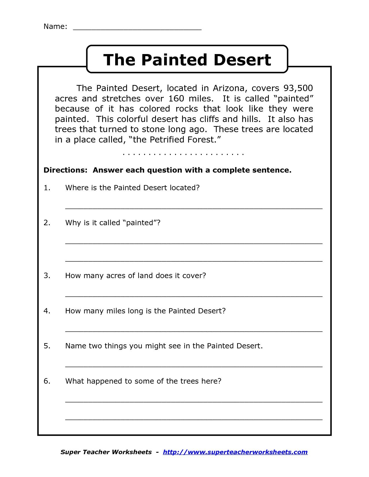 Comprehension Worksheet For 1st Grade Y2 P3 The Painted