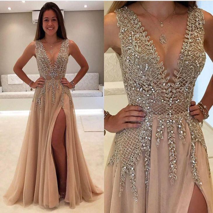 Deep V Prom DressBeaded Prom DressFashion Prom DressSexy Letus