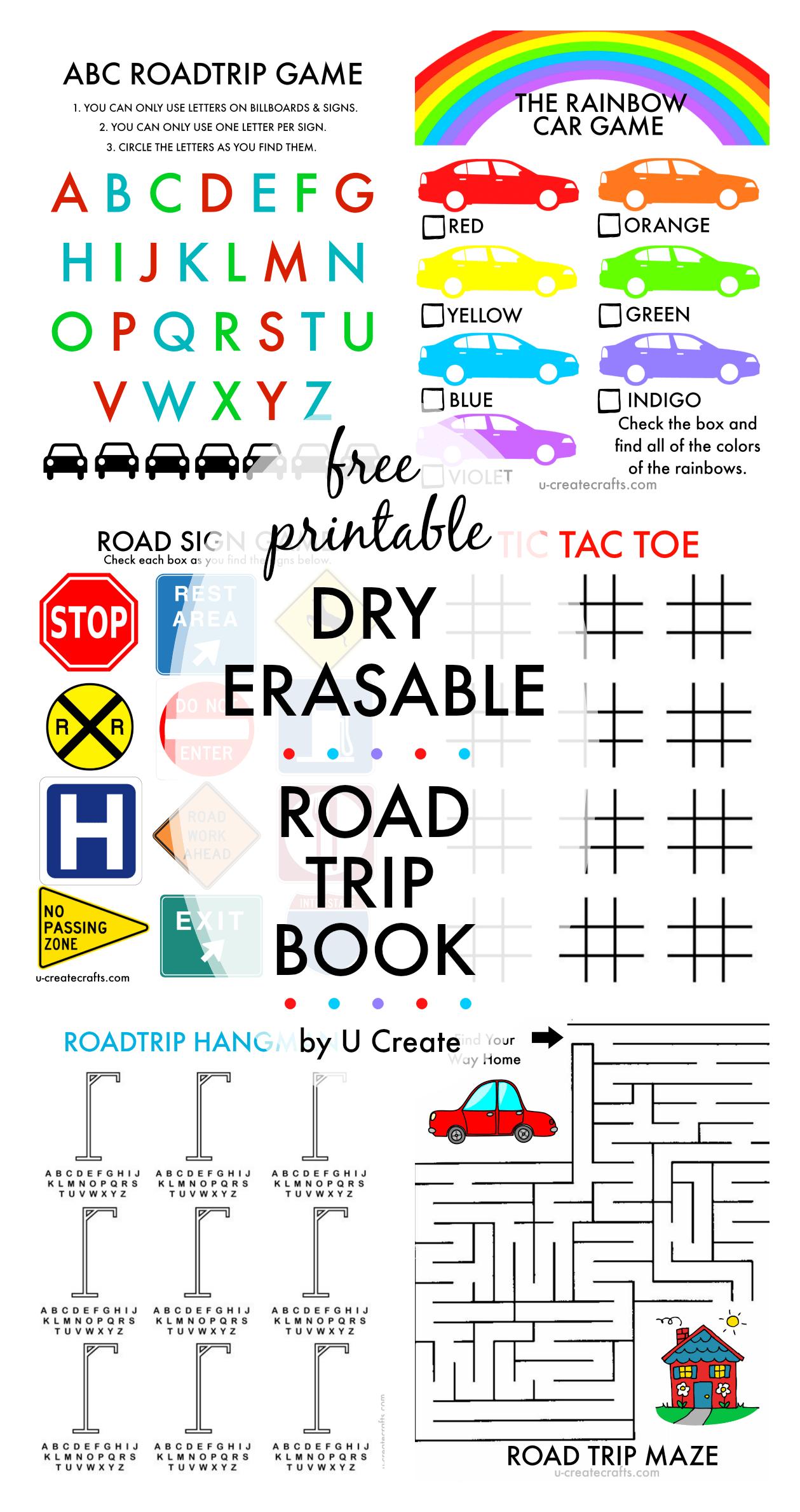 Free Printable Dry Erasable Road Trip Book For Kids