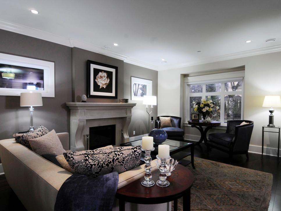 This Living Room Features A Dark Gray Accent Wall Situated