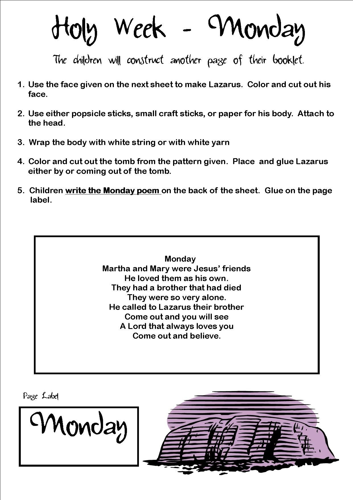 Holy Monday Art And Poem Activity