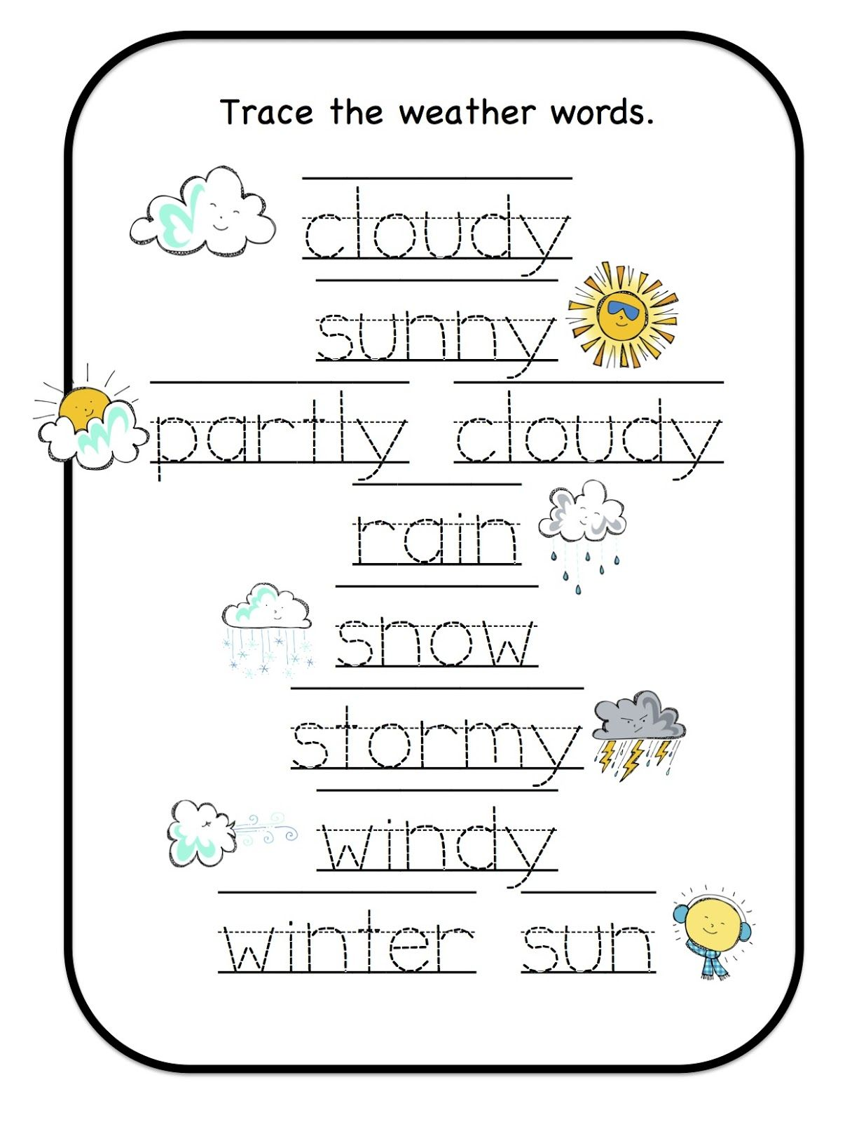 Free Printable Seasons Tracing Worksheet