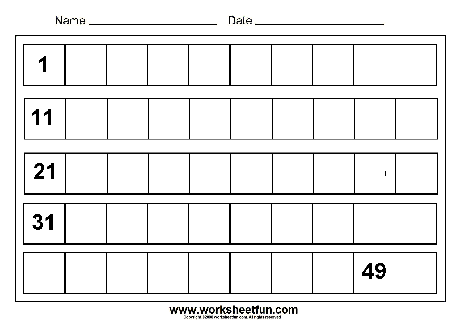 Write 1 20 Worksheet