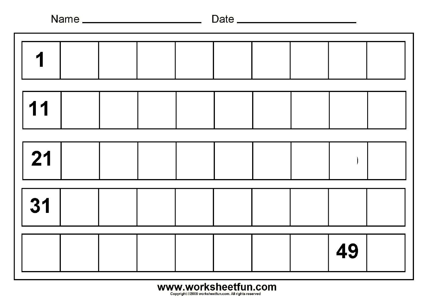 Write 1 20 Worksheet
