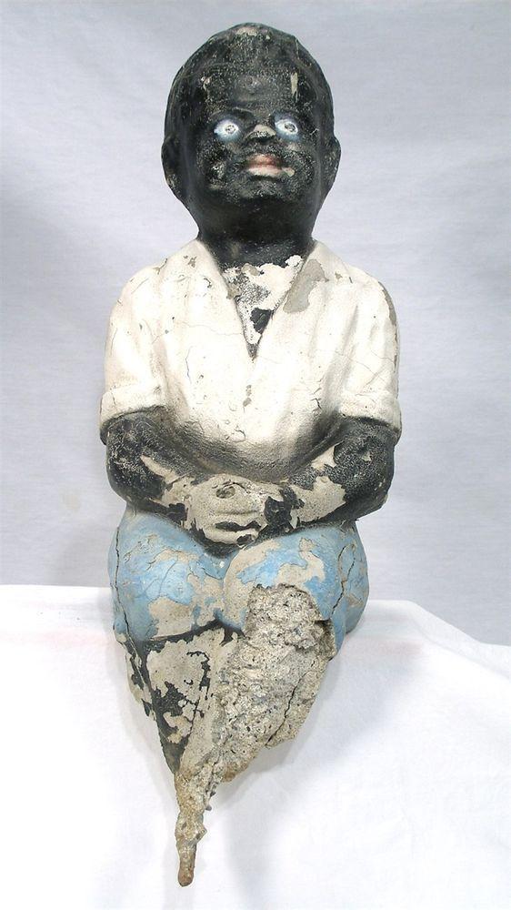 ANTIQUE BLACK MEMORABILIA FISHING BOY GARDEN POST ART