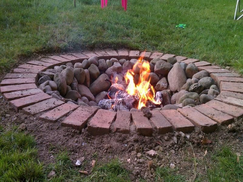 Outdoor Brick Fire Pit Designs | FIREPLACE DESIGN IDEAS ... on Simple Outdoor Brick Fireplace id=23330