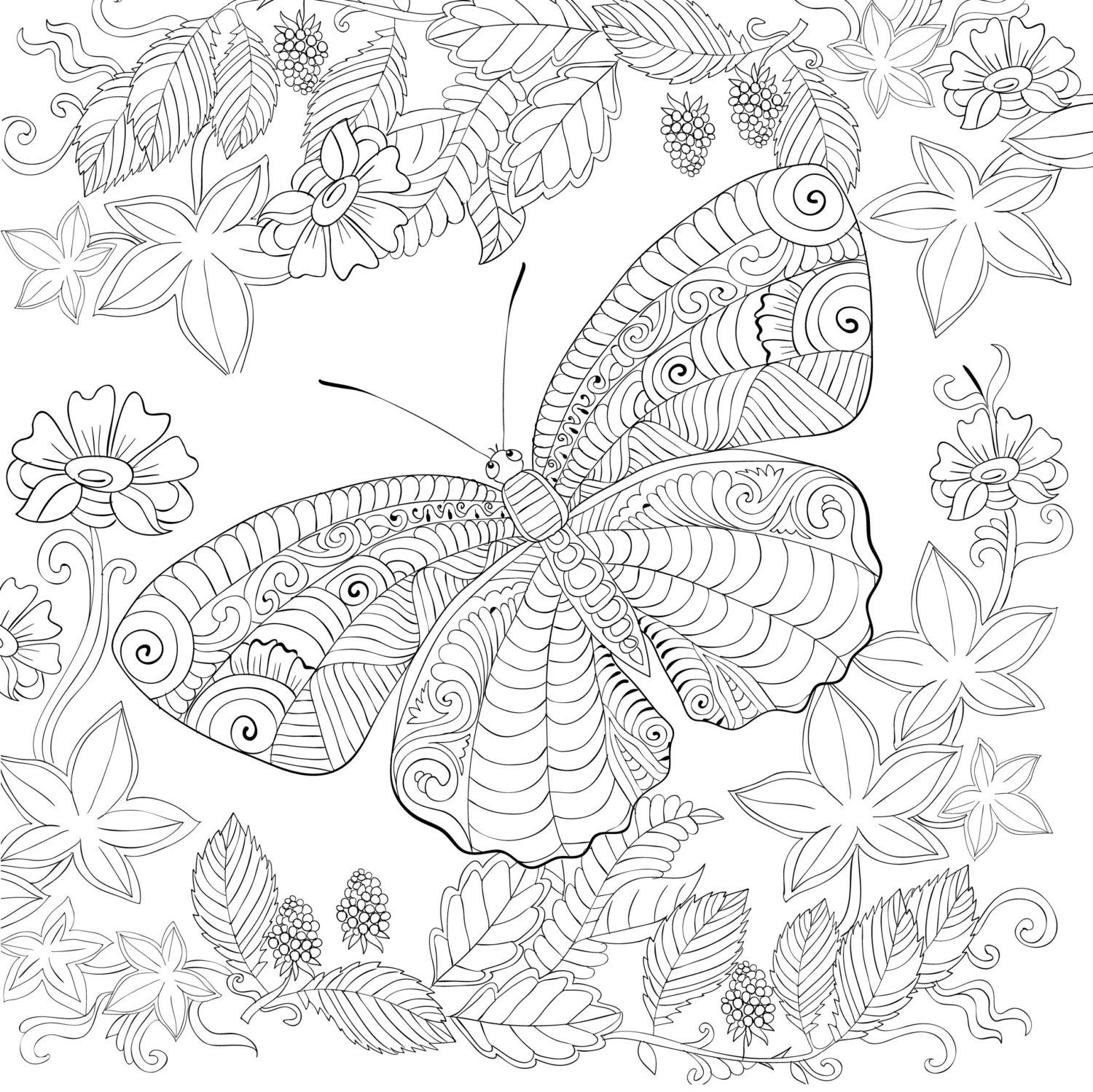 Biutterfly Coloring Page For Calm Relaxation And Stress Relief