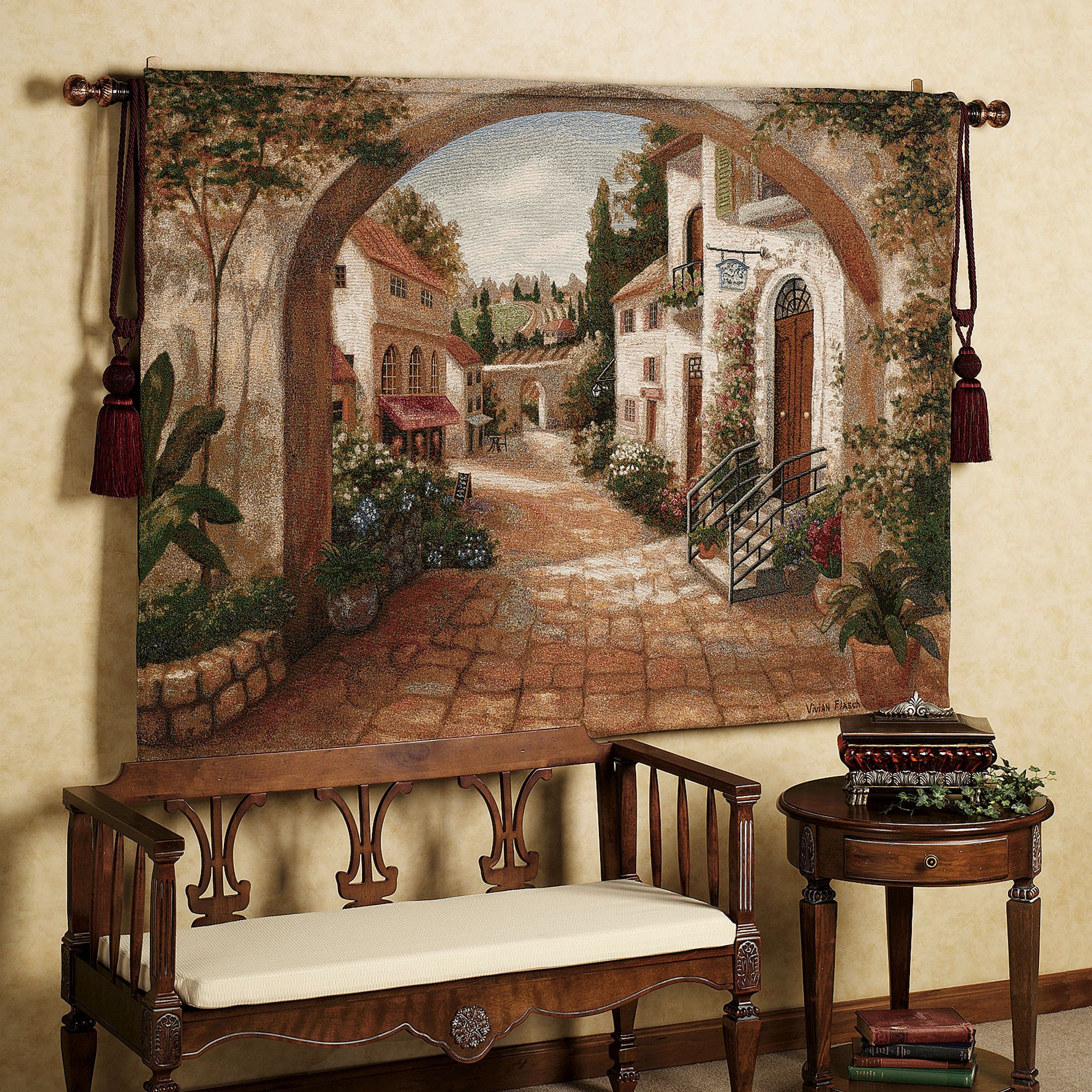 quaint town tapestry tapestry tuscan decor and wall on wall hangings id=88553