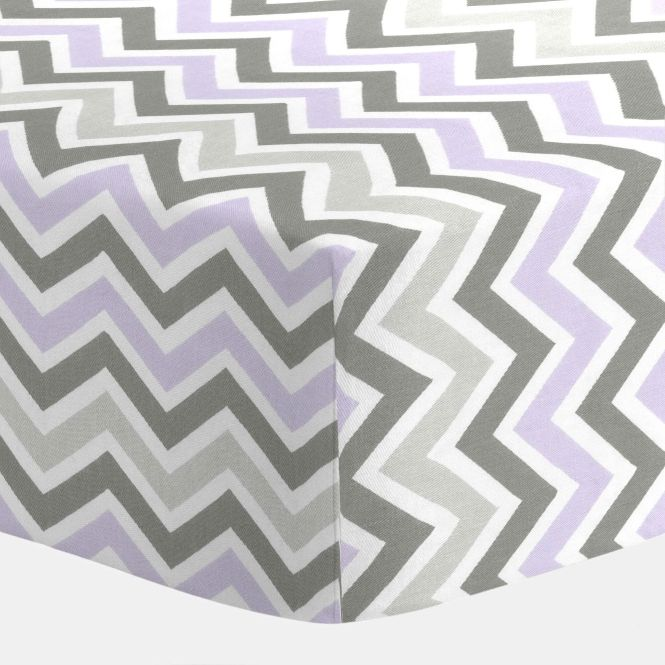 Toddler Bed Lilac And Slate Gray Chevron Crib Sheet I Carousel Designs Our Ed Sheets Feature