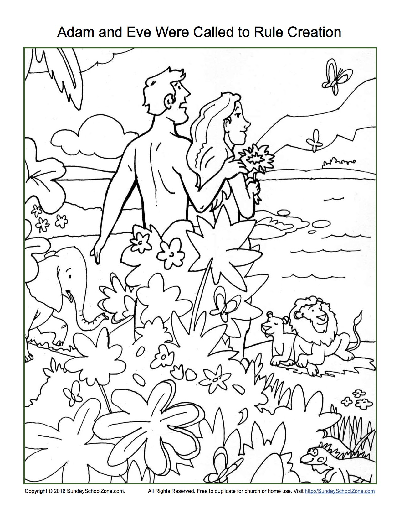 Created Adam And Eve Coloring Pages