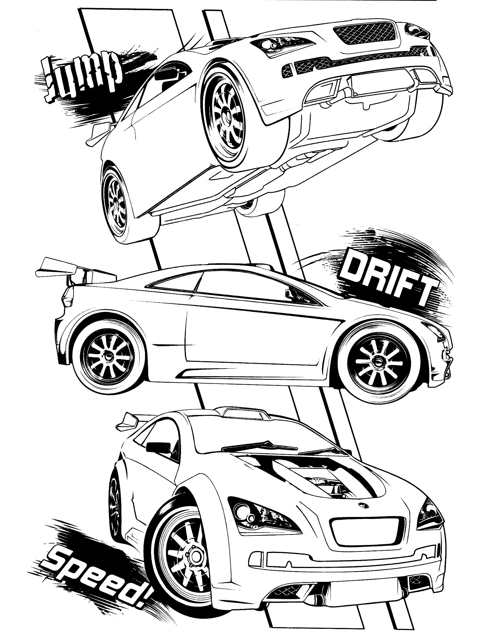 Hot wheels coloring page