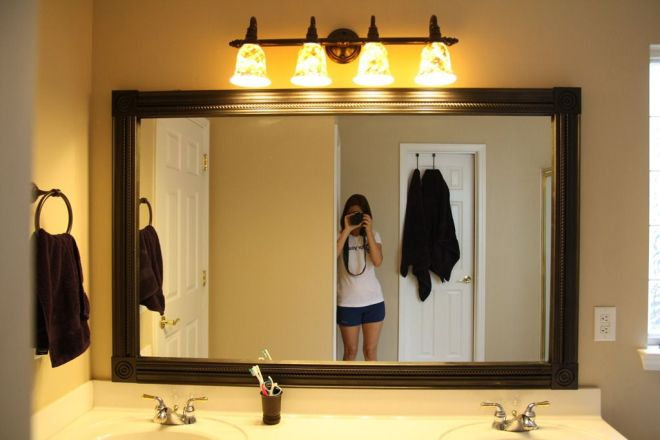 Easy diy mirror frame and lowes light fixture decorating