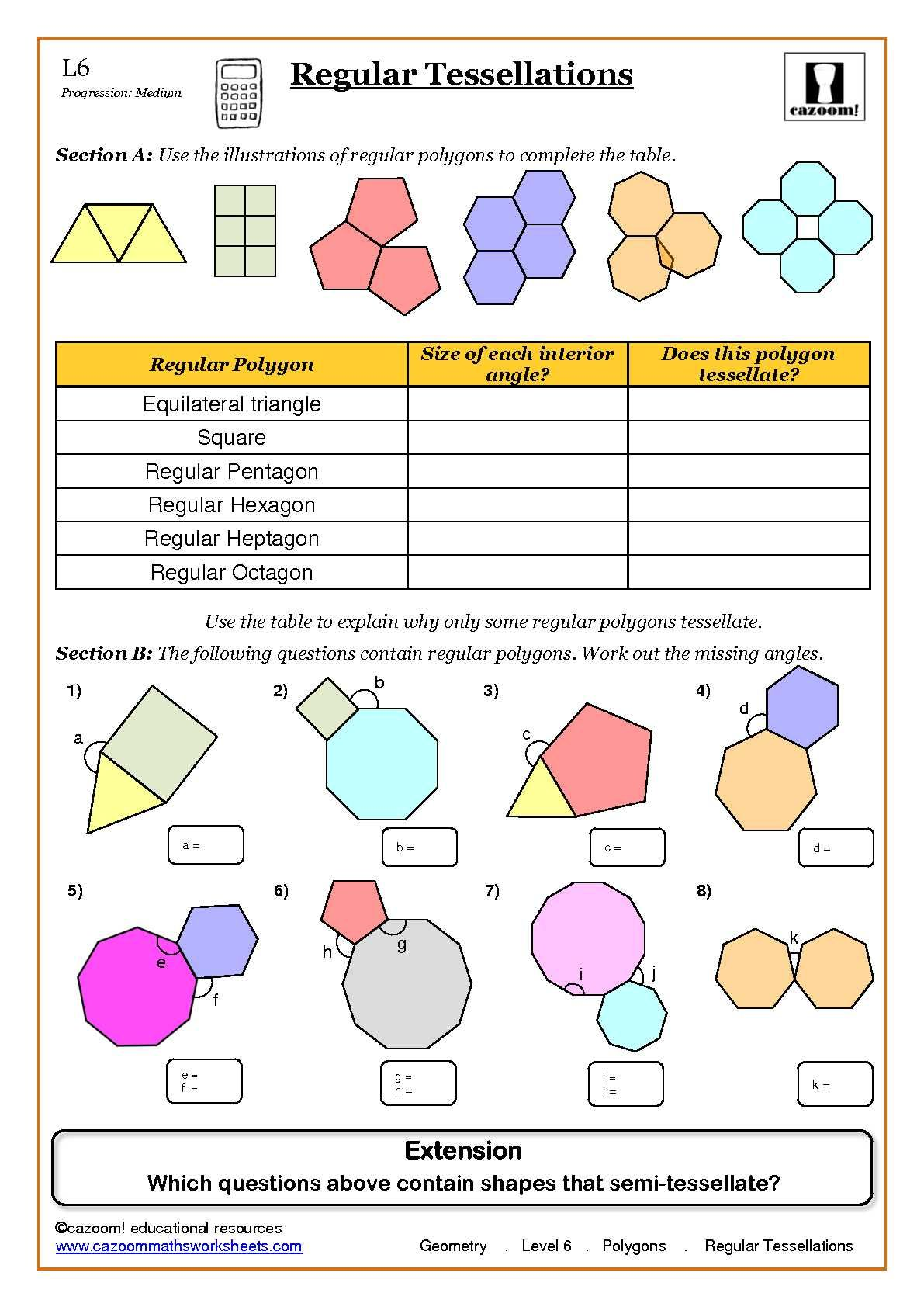 Geometry Maths Worksheet Ks3 Regular Shapes