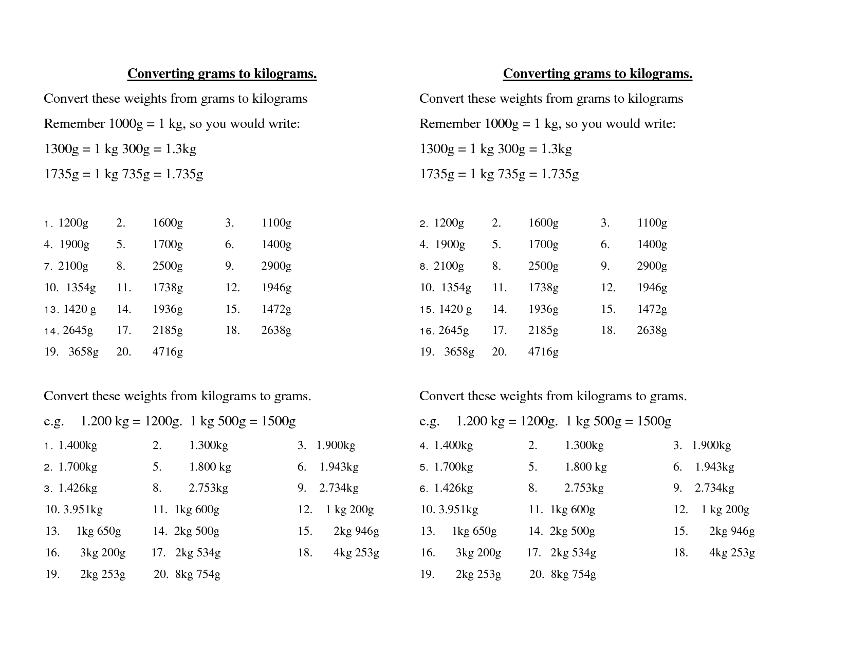 Converting Grams To Kilograms Convert These Weights From