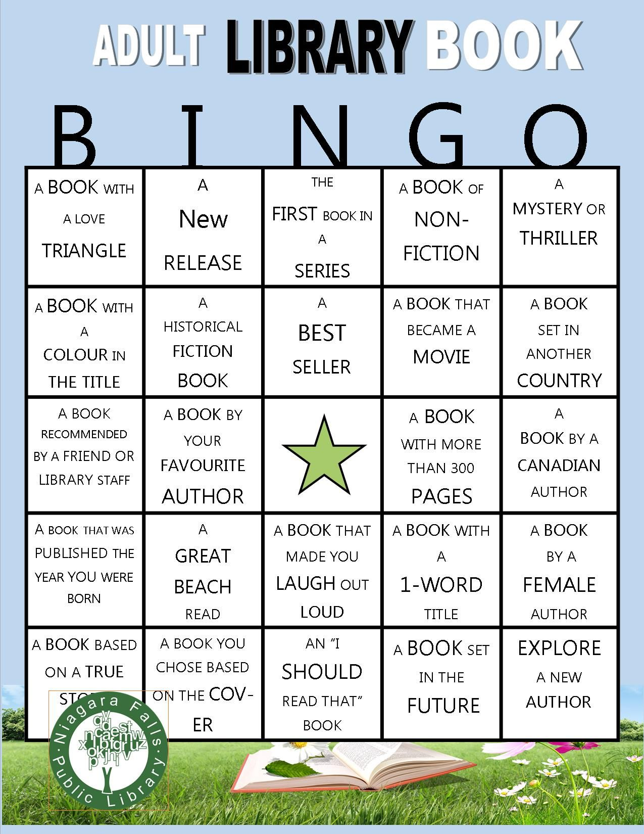 A Self Directed Summer Reading Game For Adults Pick Up A Bingo Card Fill Appropriate Squares