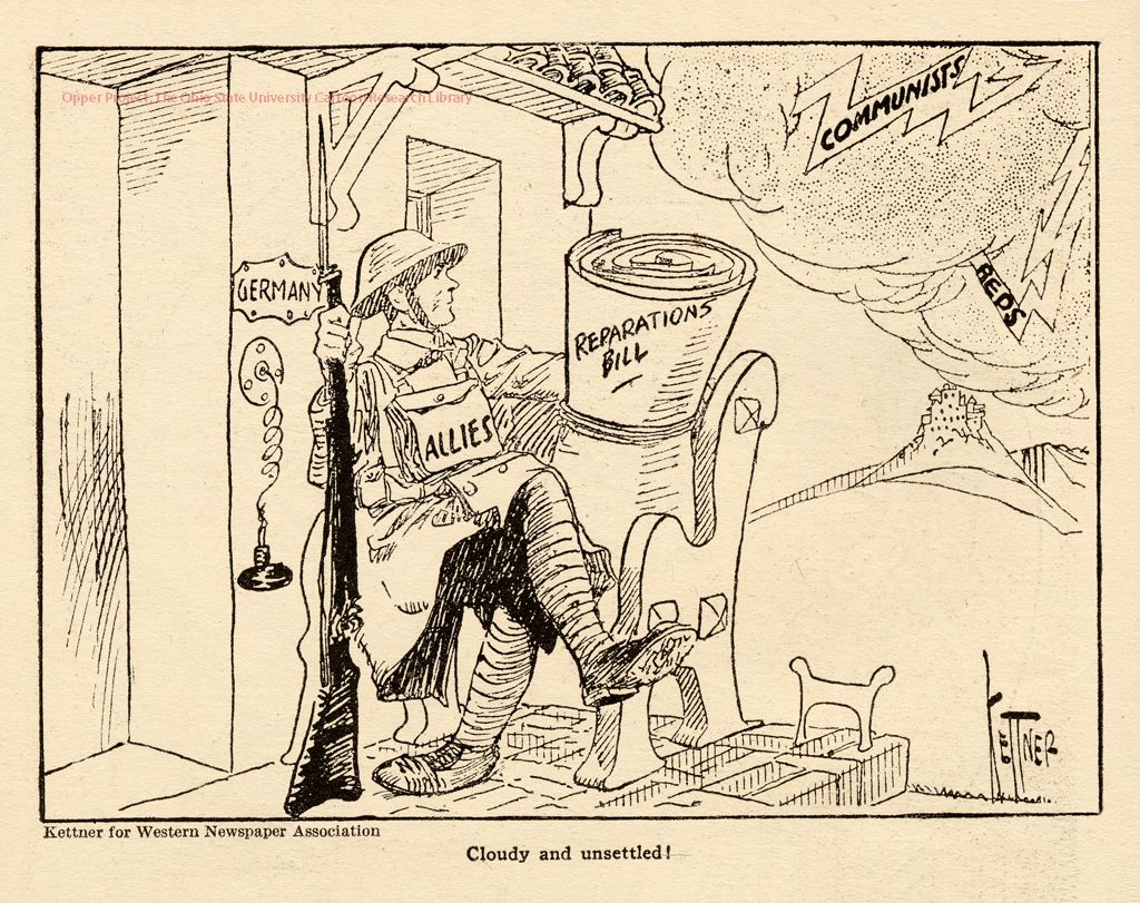 Political Cartoon Of The Treaty Of Versailles Showing Russia Alone In Its Own Destruction