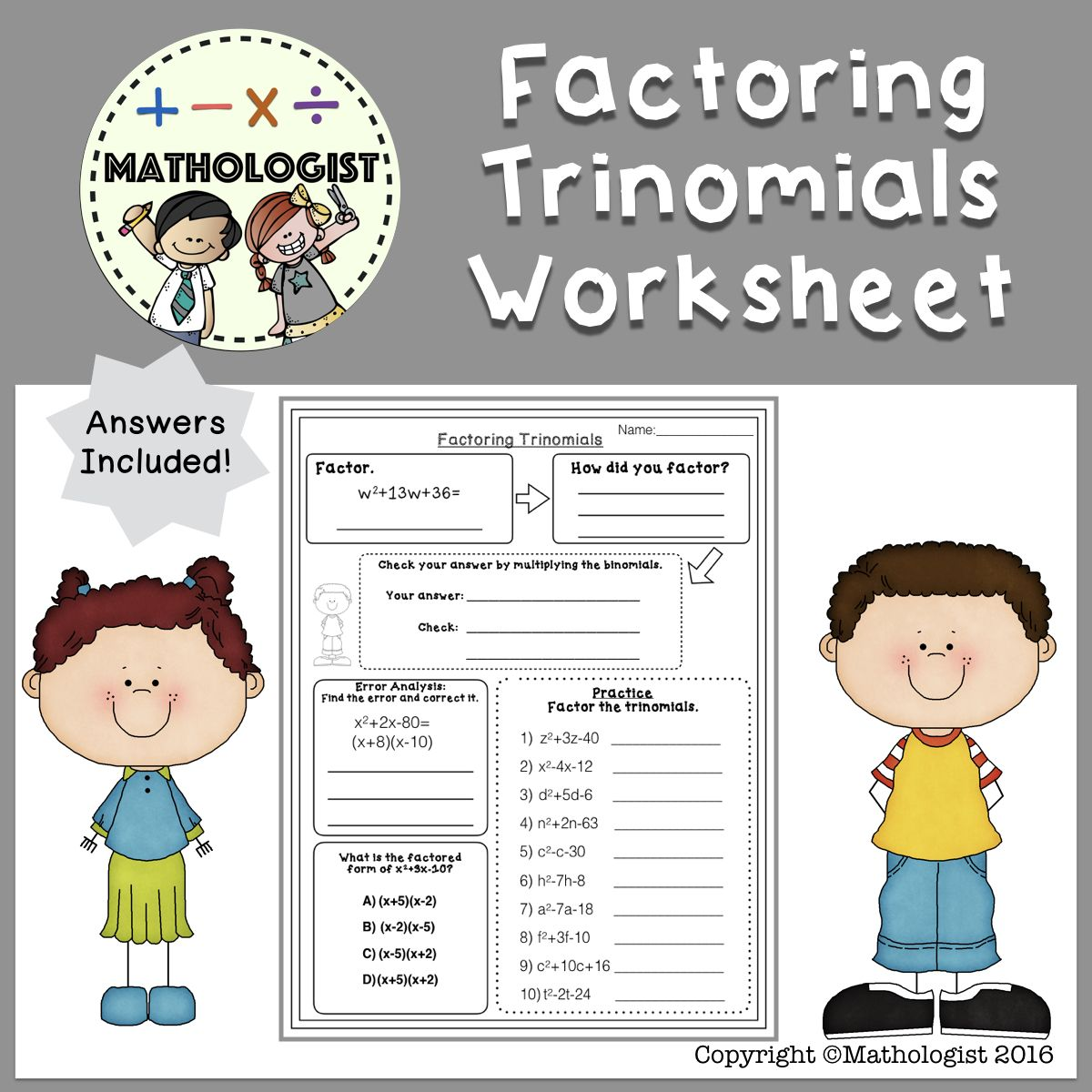 Factoring Trinomials Worksheet A 1 Algebra Homework