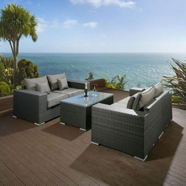 grey rattan garden furniture Grey Wicker Sofa Five Piece Grey Rattan Garden Furniture