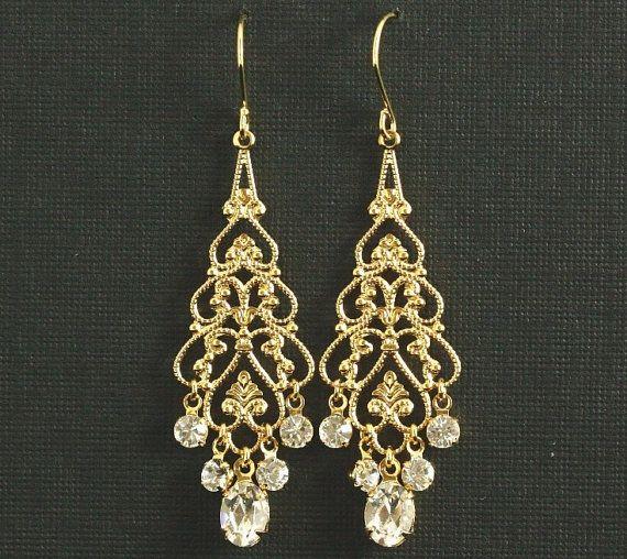 Gold Rhinestone Chandelier Earrings Wedding Filigree Swarovski Crystal