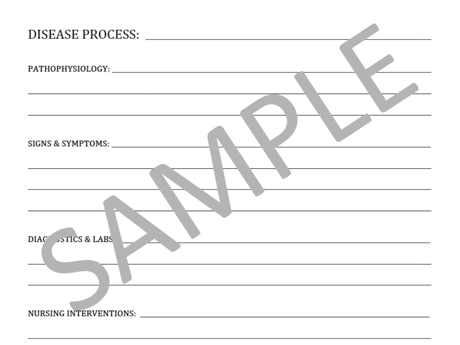 Blank Template For Nursing School Notes File By