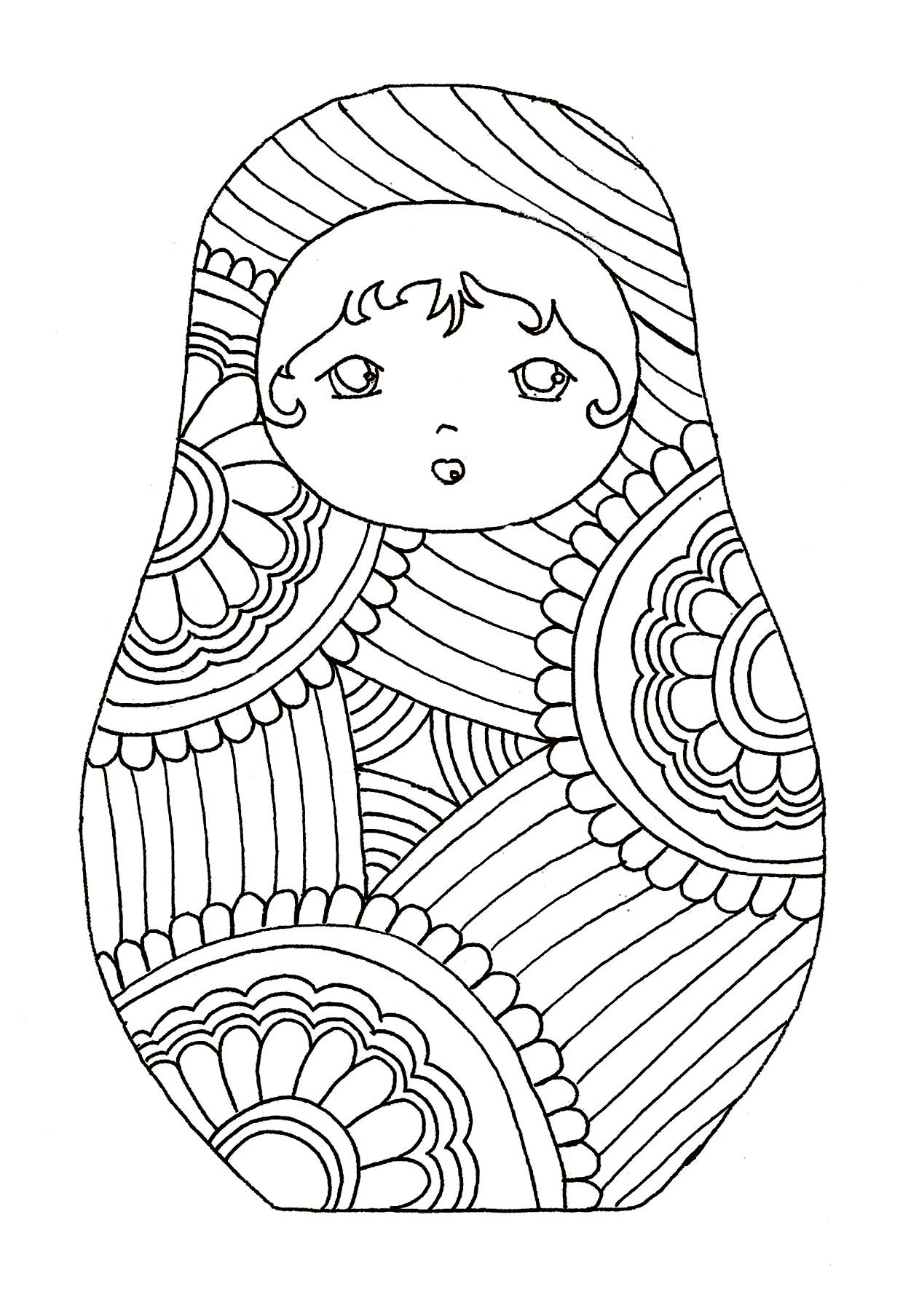 Free Coloring Page Coloring Russian Dolls 9