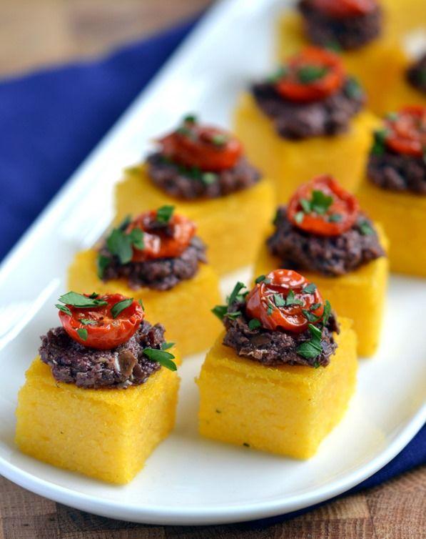 Polenta-Olive Tapenade Bites | Recipe | Tapenade, Polenta ...