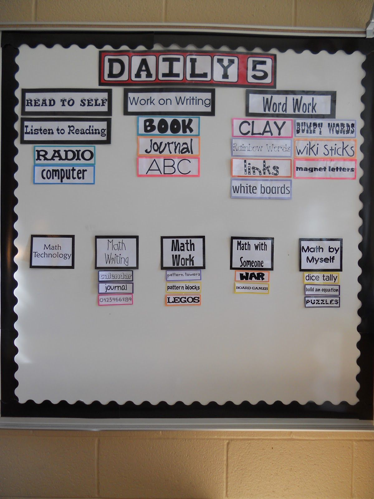 This Looks Like A Great Board For Daily 5 Reading And Math