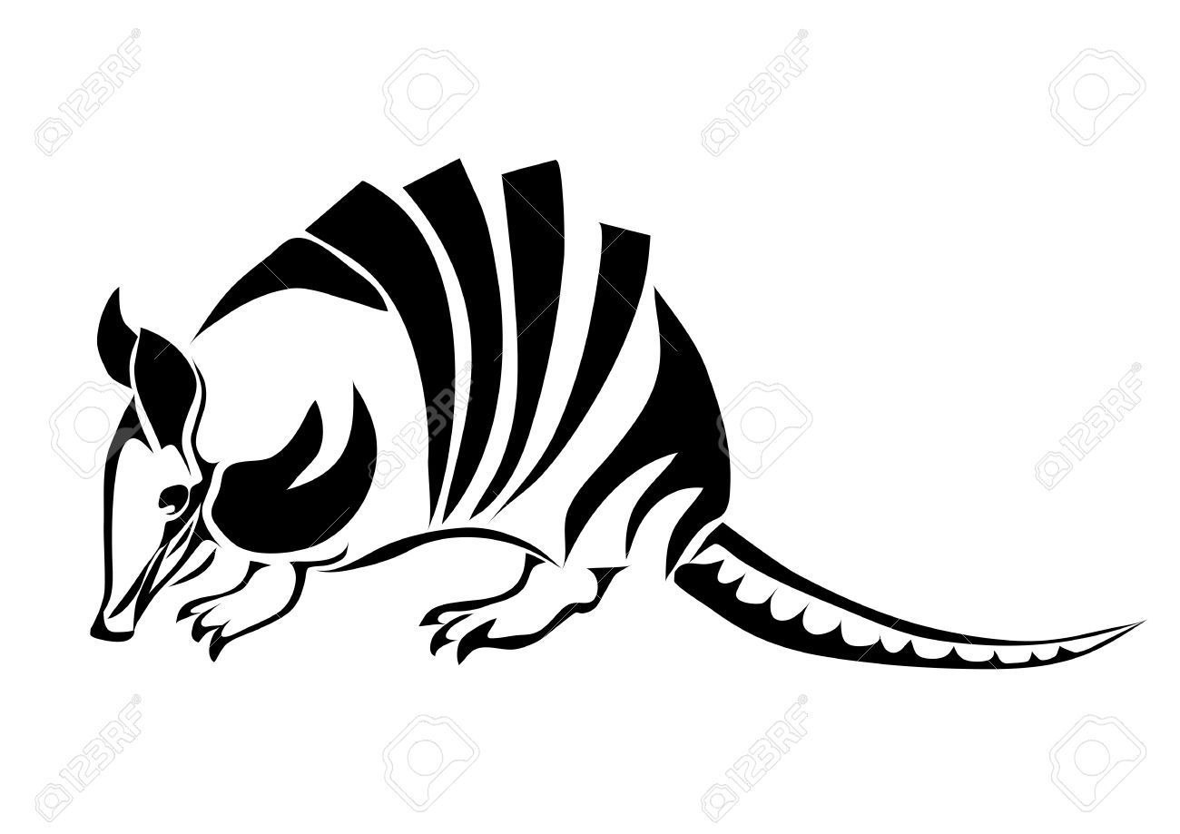 Armadillo Silhouette Of Animal Isolated On White Royalty