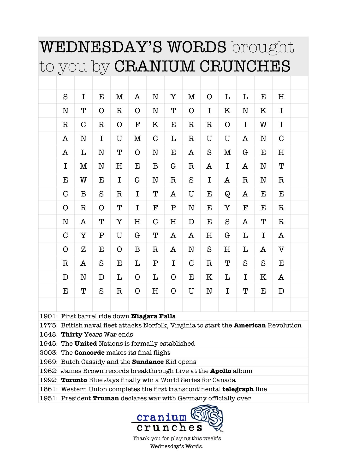 Word Search Puzzle From Our Blog Themed Today In History