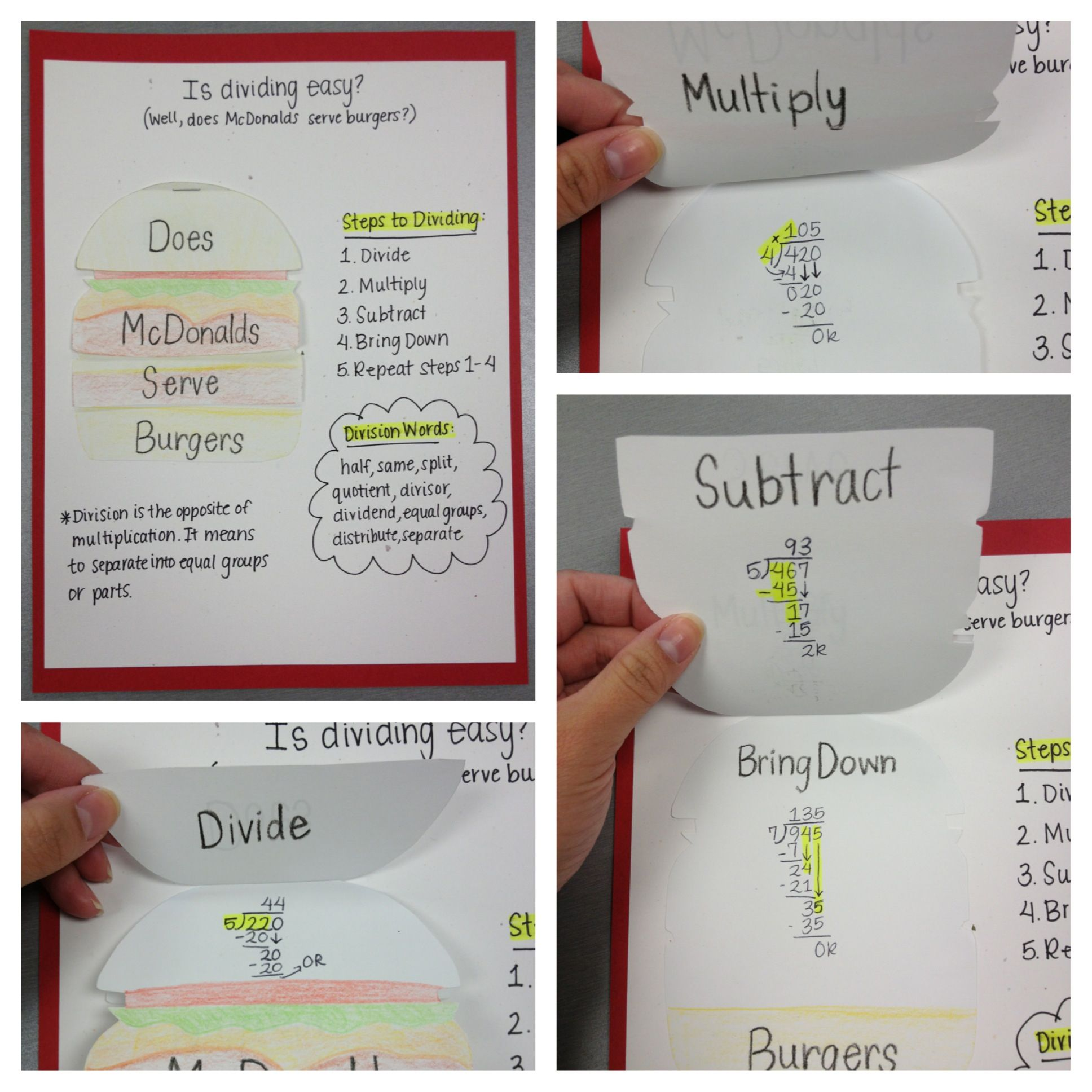 Long Division Foldable I Got The Idea From A Fellow