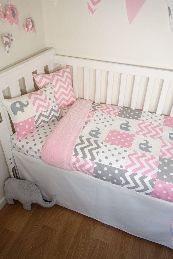 Patchwork Quilt Nursery Set Pink And Grey Elephants