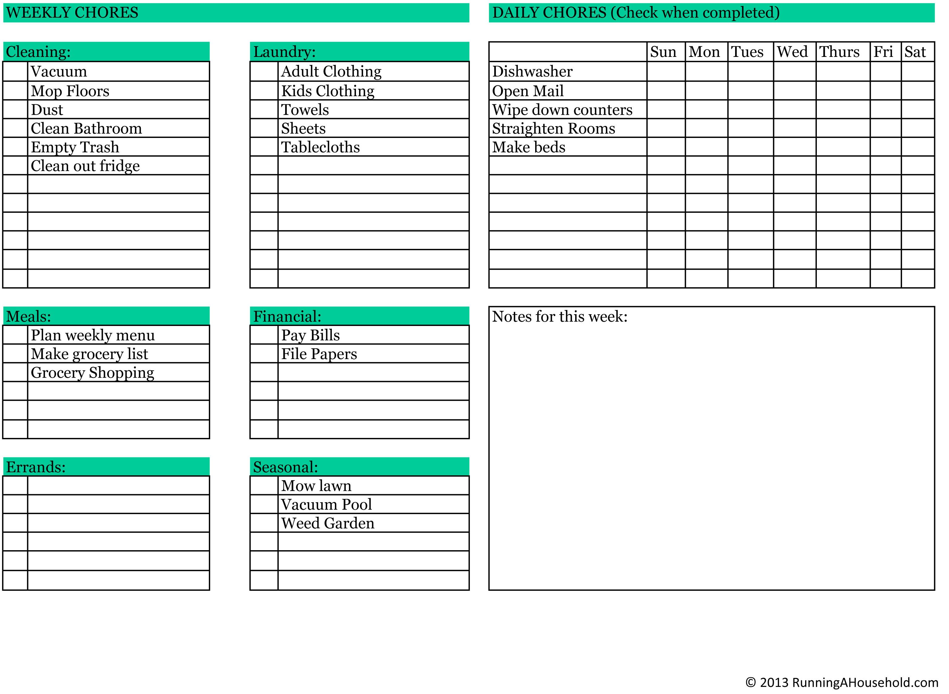 Household Chores Printable Weekly Checklist