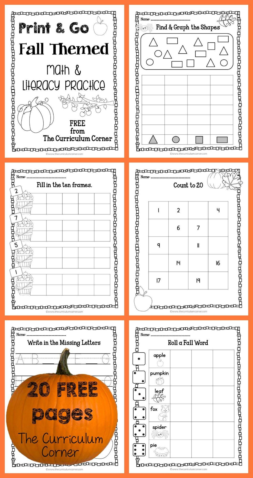 Fall Print Amp Go Math And Literacy Practice