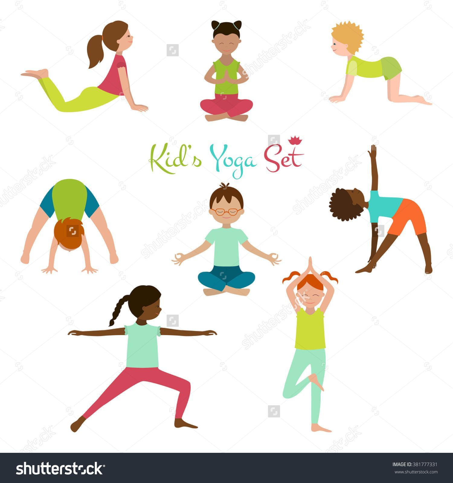 Stock Vector Vector Illustration Of Kid Yoga Collection Yoga Poses Of Child Cute Poster
